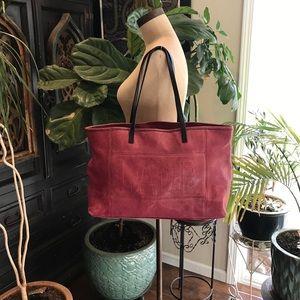 L.A.M.B. Wine leather tote handbag